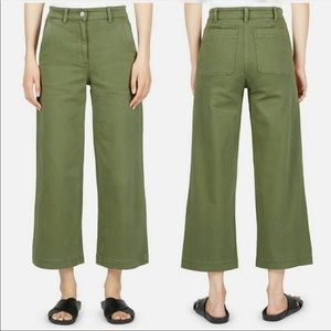 Everlane Cropped Wide Leg High Waisted Pants Green